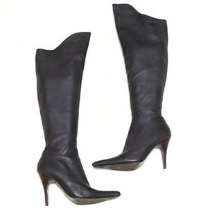 Charles David Over the Knee Brown Leather Boots 7
